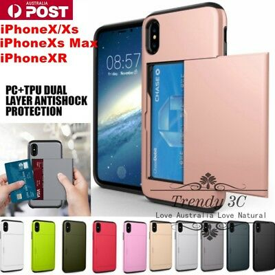AU8.99 • Buy Back Card Holder Slot Shockproof Tough Bumper Case Cover For IPhone X/XS/Max/XR