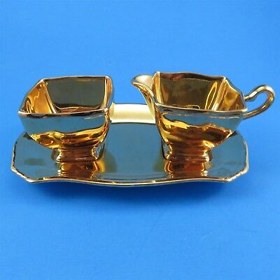 $ CDN55 • Buy 3 Piece Royal Winton Grimwades Gold Creamer, Sugar And Tray (some Crazing)