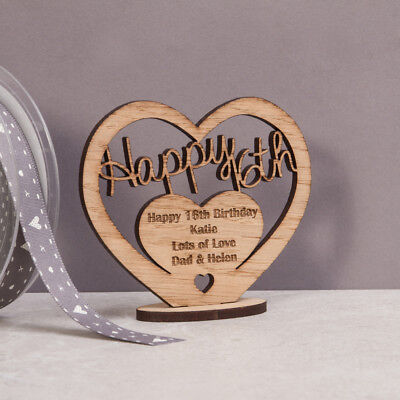 Personalised Wooden Freestanding Heart For 16th 30th 40th Birthday Gift Message • 4.95£