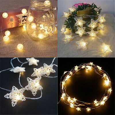 Battery Operated Wicker Rattan Star /Ball LED String Fairy Lights Wedding Party • 4.19£
