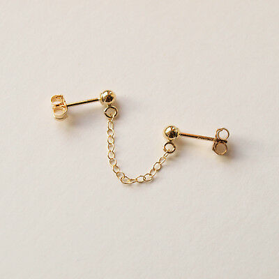 £16.49 • Buy Gold Filled Double Lobe Piercing Earring - Connected Chain Studs For Two Holes