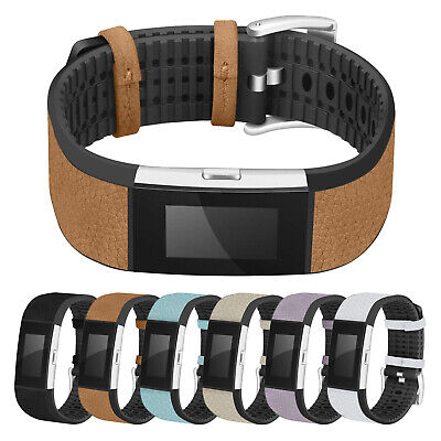 AU33.39 • Buy StrapsCo Rubber & Textured Leather Watch Band Strap For Fitbit Charge 2