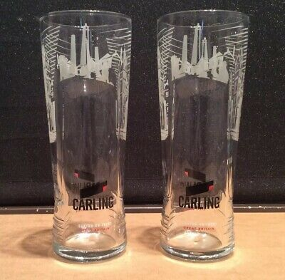 Carling Lager Burton-on-Trent Pint Glasses X 2 CE Marked New & Unused • 4£