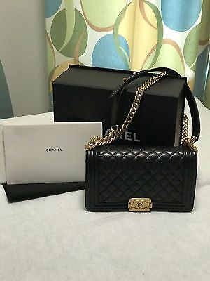 d5cac17997a292 Authentic NEW Chanel Le Boy Black Lambskin Quilt Old Medium • 5,300.00$