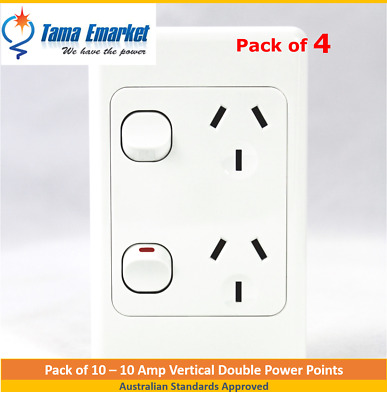 AU21.20 • Buy 4 X 10 Amp Vertical Double Power Point GPO Socket Outlet Powerpoint White SAA