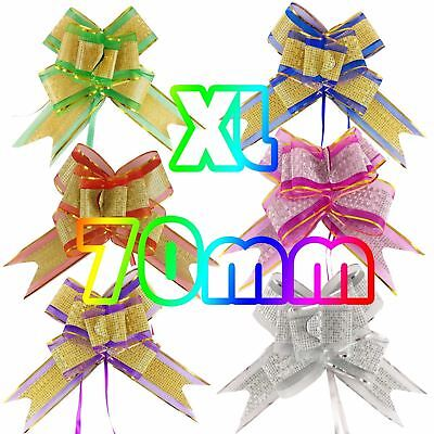 XXL 70mm Metallic Organza Jumbo Butterfly Pull Bows Florist Pullbow 50mm Xmas • 1.99£