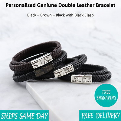Venice Brown Black Leather & Stainless Steel Mens Personalised Engraved Bracelet • 15.99£
