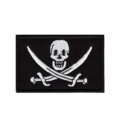 SKULL AND CROSSWORDS Pirate Flag Iron On Patch Sew On Transfer Badge Fancy Dress • 2.19£