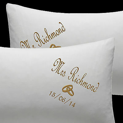 PERSONALISED Wedding Rings Pillow Cases EMBROIDERED Cotton Wedding Anniversary • 19.99£