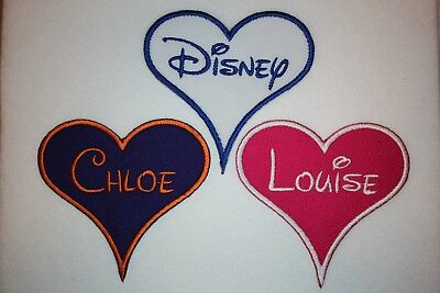 Personalised Embroidered Name Patch Heart DISNEY - Iron Or Sew On **FREE POST** • 3.25£