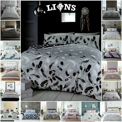 DUVET COVER SET With Pillowcase Reversible Bedding Printed Quilt Soft Easy Care • 12.49£