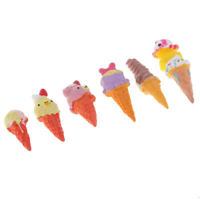 6 Pieces Mix Ice Cream Resin Flatback Cabochon Embellishment Decoden Crafts • 3.33£