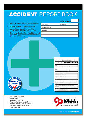 £6.95 • Buy Cherry GDPR First Aid Accident Report Book A4 (210mm X 297mm) 50 Page RIDDOR HSE