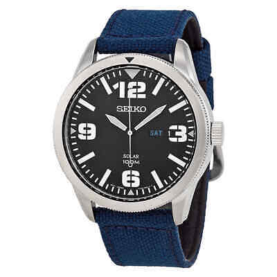 $ CDN117.28 • Buy Seiko Solar Black Dial Blue Nylon Men's Watch SNE329