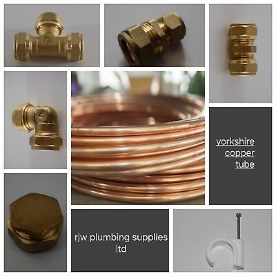 8mm Yorkshire Copper Tube/pipe/brass Compression Fittings/plumbing Joblot/gas   • 4.79£