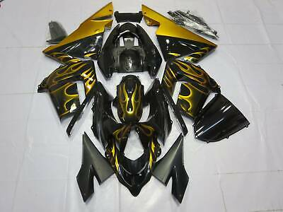 $469 • Buy Fairing Kit For Kawasaki Ninja ZX10R 2004 2005 ABS Injection Bodywork Gold Flame