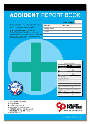 £5.95 • Buy Cherry GDPR First Aid Accident Report Book A5 (148mm X 210mm) 50 Page RIDDOR HSE