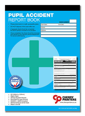 £5.95 • Buy Cherry GDPR Pupil First Aid Accident Report Book A5 (148mm X 210mm) 50 Page HSE