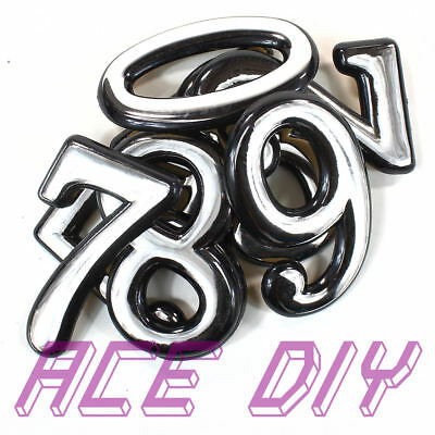 2   Self Adhesive Above Door Numbers Chrome Finish Number Letter House Apartment • 1.99£