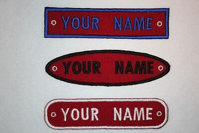 Personalised Embroidered Name Patch BLOCK FONT - Iron Or Sew On **FREE  POST* • 3.25£