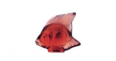 Lalique Crystal (Brand New) - Fish Figurine : Golden Red (Rouge) 3003100 • 80£