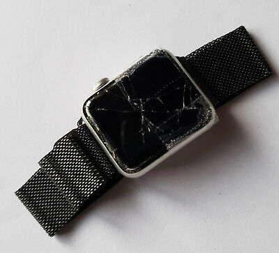 $ CDN62.93 • Buy Apple Watch Series 2 Nike+ 38mm Aluminum Silver Gray Metal Band - BADLY CRACKED