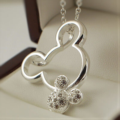 925 Silver Plt Mickey Minnie Mouse Clear CZ Pendant Necklace Gift Idea • 4.99£