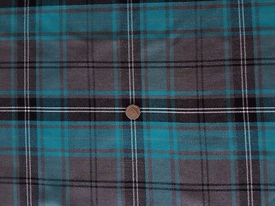 Top Quality Turquoise & Grey Tartan Check Fabric/Material - Clothing/furnishings • 6.95£