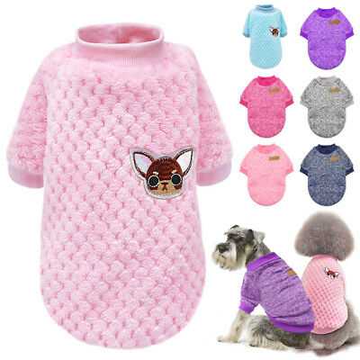 £5.66 • Buy Cute Dog Knitted Sweater Chihuahua Clothes Soft Warm Jumper For Small Dogs Pink