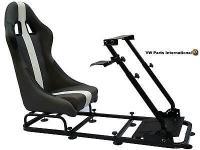Car Gaming Racing Simulator Frame Chair Bucket Seat PC PS3 PS4 XBox Grey/White • 284£