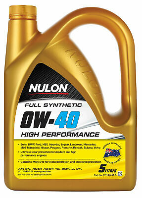 AU89.95 • Buy Nulon Full Synthetic High Performance Engine Oil 0W-40 5L SYN0W40-5 Fits Hold...