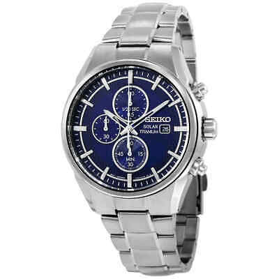 $ CDN261.24 • Buy Seiko Solar Chronograph Blue Dial Titanium Men's Watch SSC365