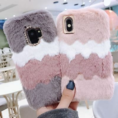 Soft Furry Faux Fur Phone Cover Plush Shockproof Stitching Color Back Case Warm • 5.29£
