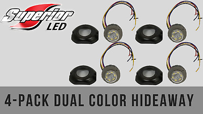 $174.99 • Buy Superior LED Dual Color Dual Mode 4 PACK RED / AMBER Hideaway W/ Surface Bezel