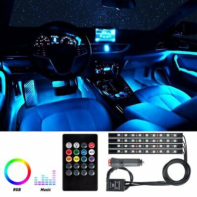 $15.39 • Buy 4X 36 LED Car SUV Interior Decor Neon Atmosphere Light Strip Music Control Color