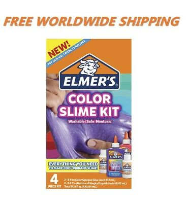 AU26.66 • Buy Elmer's Color Slime Kit Color Glue 4 Piece Kit WORLDWIDE SHIPPING
