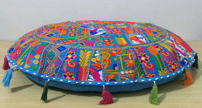 £13.89 • Buy 32  Cotton Round Floor Cushion Cover Pillow Indian Handmade Turquoise Patchwork
