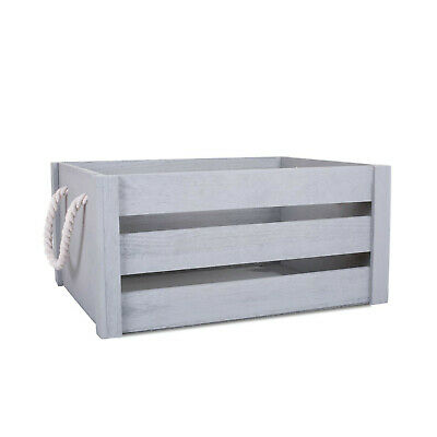 Grey Paint Rope Handle Storage Wooden Crates Shelve Box Christmas Gift Hampers • 11.99£