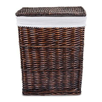 Brown Laundry Wicker Basket Cotton Lining With Lid Bathroom Storage Laundry Bag • 23.99£