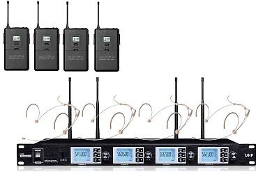 4 Headset Wireless Microphone UHF Professional Cordless Headset Microphone Set • 211.57£