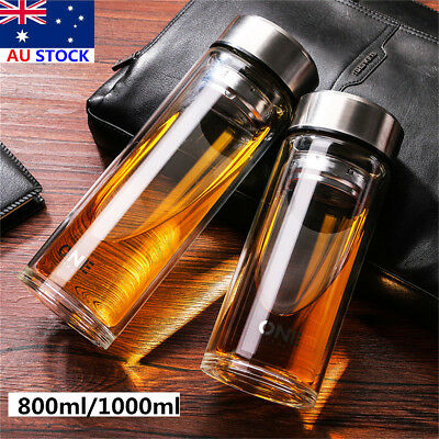AU26.99 • Buy 800/1000ML Large Glass Water Bottle Double Walled Travel Mug With Tea Infuser