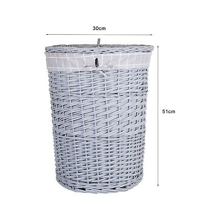 Medium Grey Painted Round Wicker Laundry Basket Cotton Lining With Lid Bathroom • 18.99£