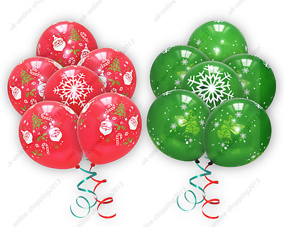 £2.49 • Buy 12  Red Merry Christmas Printed Latex Balloons Xmas Party Decorations Balon