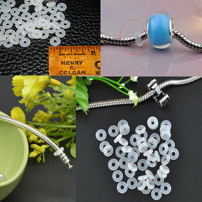 £2.49 • Buy New 30pcs Silicone Rubber Rings Charm Stopper For Silver Bracelets Spacer Beads