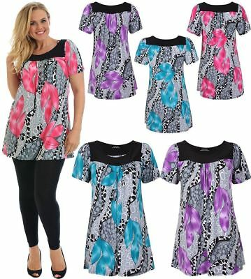 Womens Floral Print Smock Tunic Top Ladies Plus Size Short Sleeve Party Wear Top • 12.99£