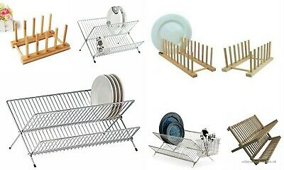 Folding Dish Drainer Wooden Chrome Metal Wire Dinner Plates Rack Stand Holder • 11.99£