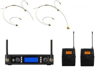 Headworn Wireless Microphone System UHF Professional 2 Cordless Headset Mic Set • 112.51£