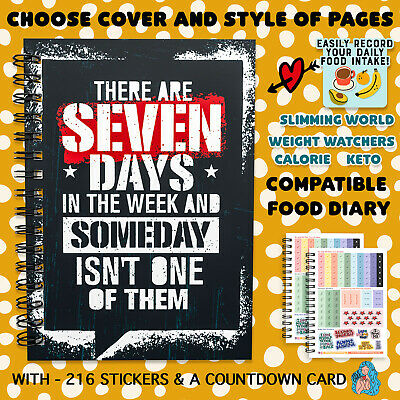 FOOD Diary INSERTS COUNTDOWN & STICKERS, 12WK BOOK PLANNER, SW WW, CALORIE, V460 • 5.35£