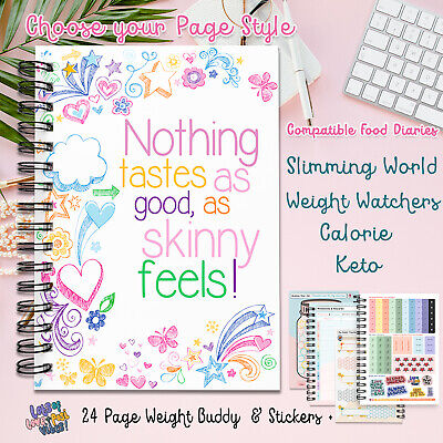 Food Diary, Planner Book 2020 Log Stickers Sw Friendly Ww Calorie Dieting V433 • 5.35£