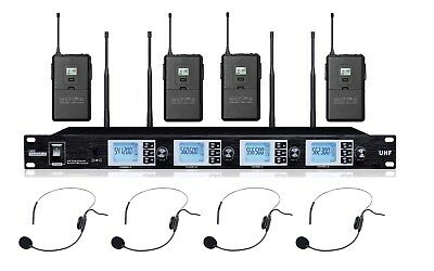 Professional Wireless Microphone Headset UHF 4 Cordless Headworn Mic Set 4 Mics • 211.57£